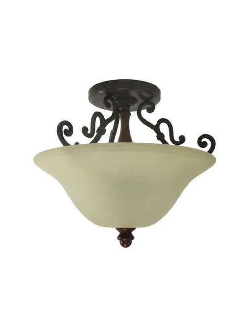 Trans Globe Lighting 168096 Two Light Semi Flush Ceiling Fixture in Antique Bronze with Finished Wood Accents - Quality Discount Lighting