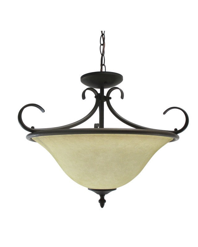 Epiphany Lighting GU102607 ORB Two Light Energy Efficient Fluorescent  Pendant Convertible Chandelier, Semi Flush,