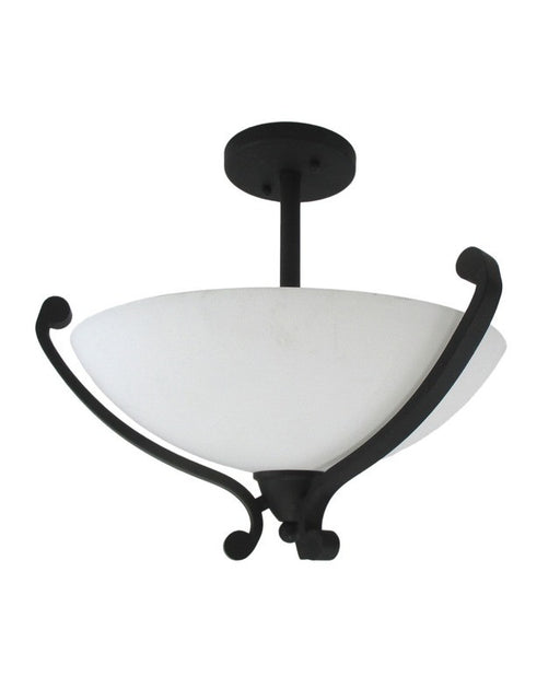Epiphany Lighting 104085 FI Semi Flush Ceiling Mount in Forged Iron Finish with White Scavo Glass
