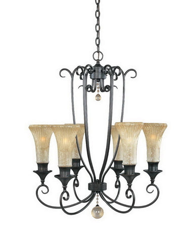 Designers Fountain Lighting 80386 DT Arabella Collection Six Light Hanging Chandelier in Dark Tahoe Bronze Finish - Quality Discount Lighting
