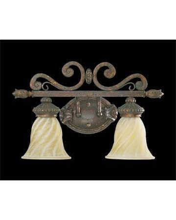 Quorum International 5280-2899 Dauphine Collection Two Light Bath Wall Vanity Fixture Energy Saving Fluorescent in Byzantine Finish - Quality Discount Lighting