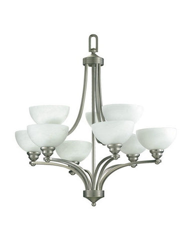 Quorum International 620-12865 Hemisphere Collection 12 Light Chandelier Energy Saving Fluorescent in Satin Nickel Finish - Quality Discount Lighting