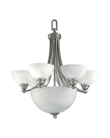 Quorum International 621-6865 Hemisphere Collection 9 Light Chandelier Energy Saving Fluorescent in Satin Nickel Finish - Quality Discount Lighting