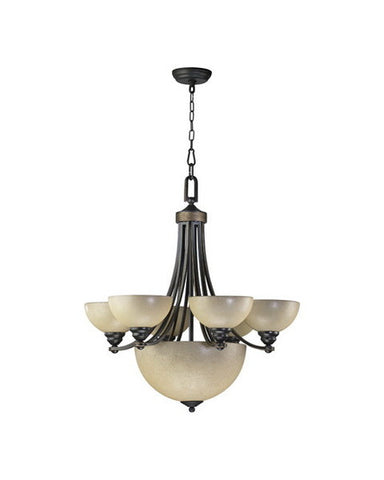 Quorum International 621-6895 Hemisphere Collection 9 Light Chandelier Energy Saving Fluorescent in Old World Bronze Finish - Quality Discount Lighting