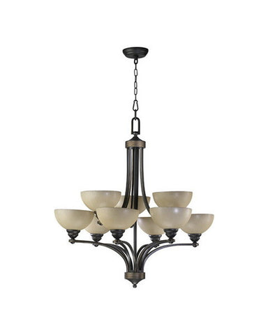 Quorum International 620-12895 Hemisphere Collection 12 Light Chandelier Energy Saving Fluorescent in Old World Bronze Finish - Quality Discount Lighting