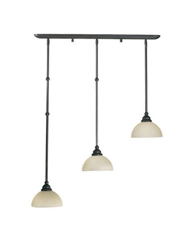 Quorum International 62-018395 Hemisphere Collection 3 Light Island Pendant Fixture Energy Saving Fluorescent in Old World Bronze Finish - Quality Discount Lighting