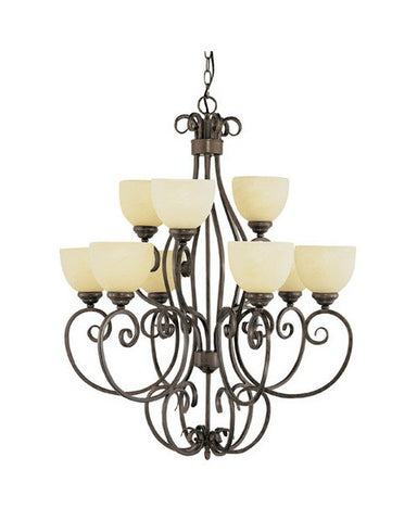 Trans Globe Lighting 7218 ABR Nine Light Chandelier in Antique Brown Finish