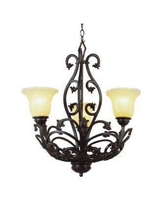Trans Globe Lighting 3958 AB Three Light Chandelier in Antique Bronze Finish