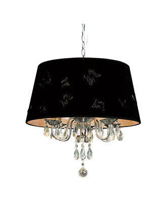 Trans Globe Lighting PND-610 BK Three Light Chandelier in Chrome Finish with Black Butterfly Shade and Crystal - Quality Discount Lighting