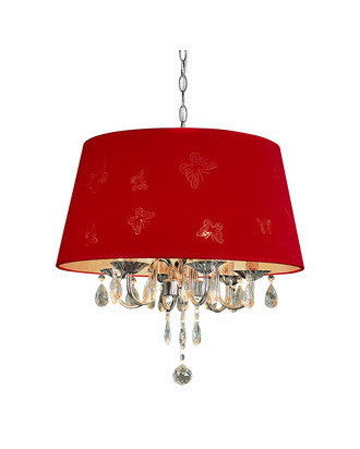 Trans Globe Lighting PND-610 Red Three Light Chandelier in Chrome Finish with Red Butterfly Shade and Crystal - Quality Discount Lighting