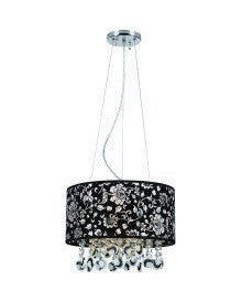 Trans Globe Lighting PND-609 CH Three Light Chandelier in Chrome Finish with Black Flower Decor Shade and Crystal - Quality Discount Lighting