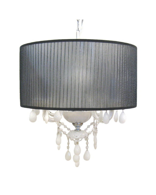 Trans Globe Lighting ELS-1 WH/BK Four Light White Shade and Black Crystal Chandelier - Quality Discount Lighting