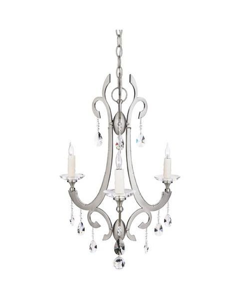 Quoizel Lighting RTY5003 ES Tyne Collection Three Light Chandelier in Empire Silver with Crystal Accents - Quality Discount Lighting