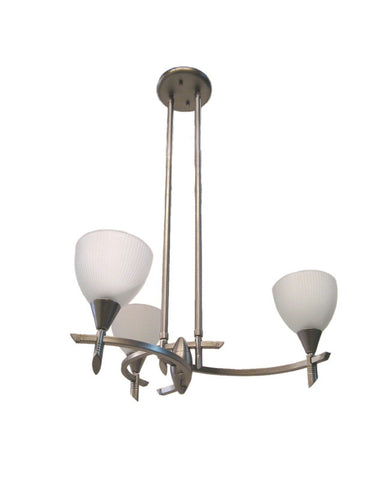 IE 5613-306 WH Three Light Chandelier in Brushed Nickel Finish - Quality Discount Lighting