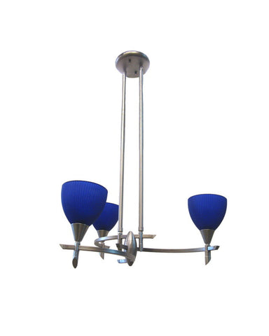 IE 5613-306 Blue Three Light Chandelier in Brushed Nickel Finish - Quality Discount Lighting