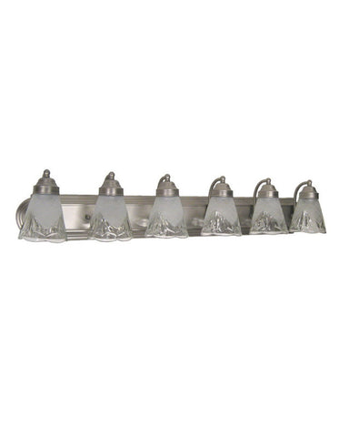 Epiphany Lighting 106141 BN-GL60929 Six Light Bath Wall Fixture in Brushed Nickel Finish with Decorative Glass