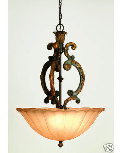 Trans Globe 3823 AAM Three Light Pendant Chandelier in Antique Amber Finish - Quality Discount Lighting