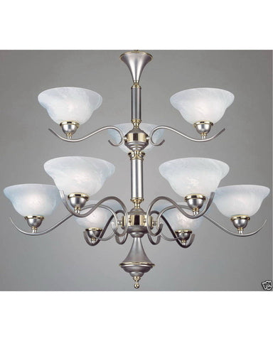 Forecast Lighting F777-62 Nine Light Chandelier in Metallic Silver Finish with Brass Accents