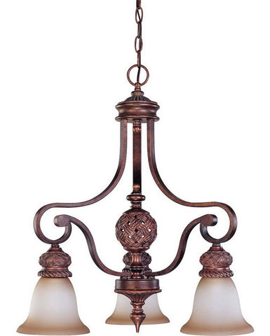 Nuvo Lighting 60-1582 Wesley Collection Three Light Chandelier in Dark Plum Bronze Finish - Quality Discount Lighting