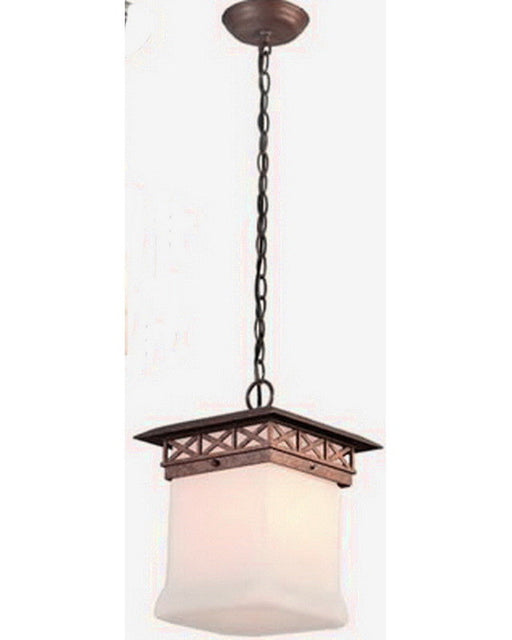 Kalco Lighting 9026 WTPL One Light Energy Efficient Fluorescent Outdoor Exterior Hanging Pendant Lantern in Walnut Finish - Quality Discount Lighting