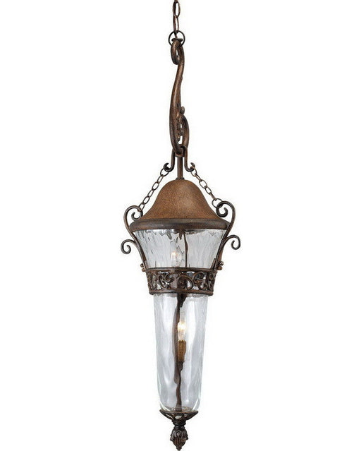 Kalco Lighting 9418 WT Three Light Outdoor Exterior Hanging Pendant Lantern in Walnut Finish - Quality Discount Lighting