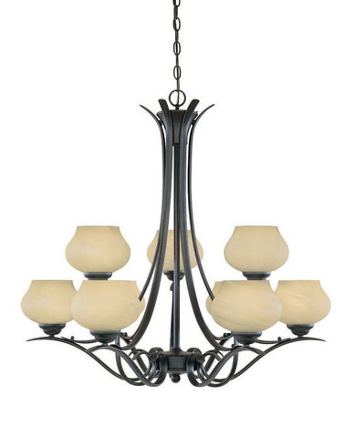 Designers Fountain Lighting 82089 BNB Nine Light Hanging Chandelier in Burnished Bronze Finish - Quality Discount Lighting