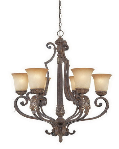 Designers Fountain Lighting 97686 VBG Grand Palais Collection Six Light Hanging Chandelier in Venetian Bronze and Gold Finish - Quality Discount Lighting