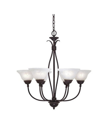 Designers Fountain Lighting 90706 NI Five Light Hanging Chandelier in Natural Iron Finish - Quality Discount Lighting