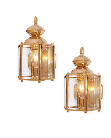 International Lighting 7754-24 TWO PACK One Light Outdoor Exterior Wall Lanterns in 24K Regal Gold Finish - Quality Discount Lighting