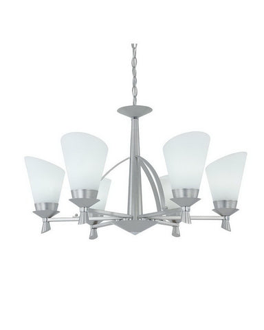 Designers Fountain ES97086 SPC Celine Collection Six Light Hanging Chandelier in Satin Platinum and Polished Chrome Finish - Quality Discount Lighting