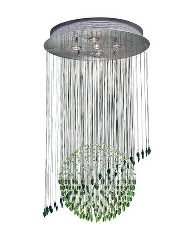 Trans Globe Lighting PLT-101 Six Light Green Crystal Chandelier in Chrome Finish - Quality Discount Lighting