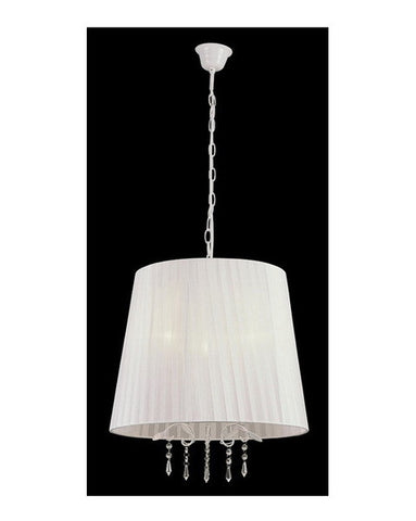 Trans Globe Lighting PND-605 WH Three Light Chandelier in White Finish with White Shade and Crystal - Quality Discount Lighting