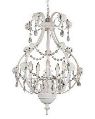 Trans Globe Lighting KDL-705 PK Five Light Chandelier in White Finish with Pink Rose and Clear Crystal - Quality Discount Lighting