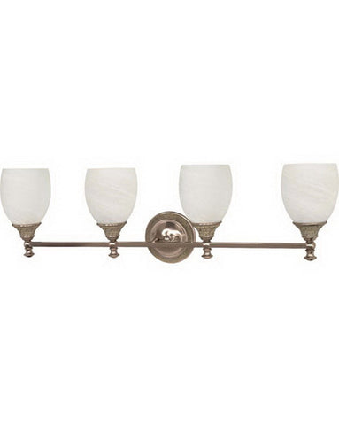 Nuvo Lighting 60-2485 Rockport Milano Collection Four Light Energy Efficient Fluorescent Bath Vanity Wall Fixture in Brushed Nickel Finish - Quality Discount Lighting