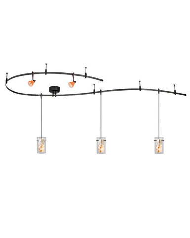 Vaxcel Lighting CB31499 DB Monorail Track System with 3 Mosaic Pendants and 2 Tangerine Heads in Dark Bronze Finish - Quality Discount Lighting