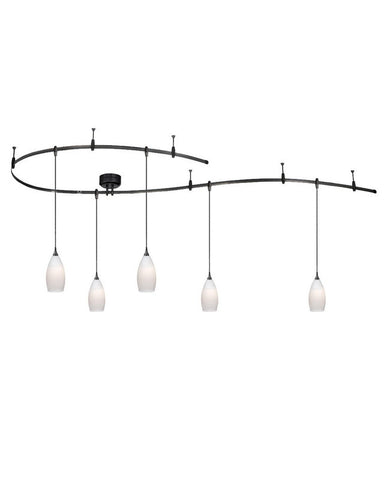 Vaxcel Lighting CB31499 DB Monorail Track System with 5 Frosted Opal Pendants in Dark Bronze Finish - Quality Discount Lighting