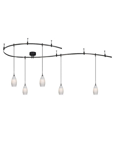 Vaxcel Lighting CB31499 DB Monorail Track System with 5 White Angel Hair Glass Pendants in Dark Bronze Finish - Quality Discount Lighting