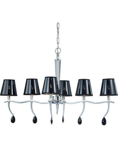 Nuvo Lighting 60-4414 Grace Collection Six Light Chandelier in Polished Chrome Finish - Quality Discount Lighting