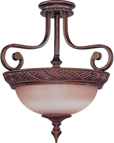 Nuvo Lighting 60-1587 Wesley Collection Three Light Semi Flush Ceiling Fixture in Dark Plum Bronze Finish - Quality Discount Lighting