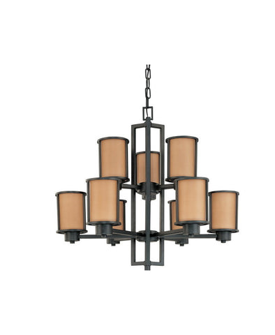 Nuvo Lighting 60-3829 Odeon Collection Nine Light Energy Star Efficient Fluorescent GU24 Chandelier in Aged Bronze Finish - Quality Discount Lighting