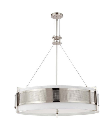 Nuvo Lighting 60-4334 Diesel Collection Six Light Energy Star Efficient Fluorescent GU24 Pendant Chandelier in Polished Nickel Finish - Quality Discount Lighting