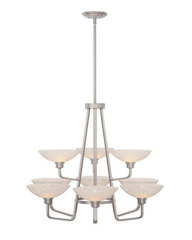 Quoizel Lighting PHO5009 BN Phoenix Collection Nine Light Chandelier in Brushed Nickel Finish - Quality Discount Lighting