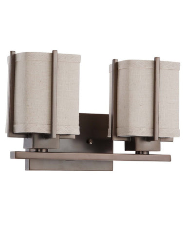 Nuvo Lighting 60-4062 Logan Collection Two Light Energy Star Efficient Fluorescent GU24 Bath Vanity Wall Mount in Hazel Bronze Finish - Quality Discount Lighting