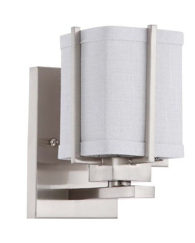Nuvo Lighting 60-4361 Logan Collection One Light Energy Star Efficient Fluorescent GU24 Wall Sconce in Brushed Nickel Finish - Quality Discount Lighting