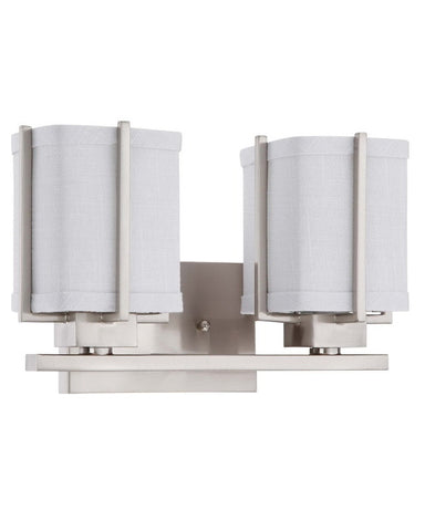 Nuvo Lighting 60-4362 Logan Collection Two Light Energy Star Efficient Fluorescent GU24 Bath Vanity Wall Mount in Brushed Nickel Finish - Quality Discount Lighting