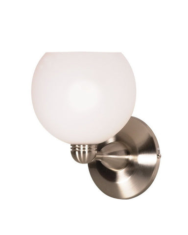 Nuvo Lighting 60-695 One Light Wall Sconce in Brushed Nickel Finish and Arctic White Sphere Glass - Quality Discount Lighting