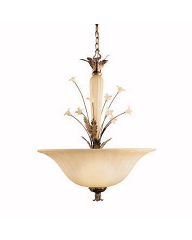 Kichler Lighting 3230 RG Italian Garden Collection Three Light Pendant Chandelier in Rosario Gold Finish - Quality Discount Lighting