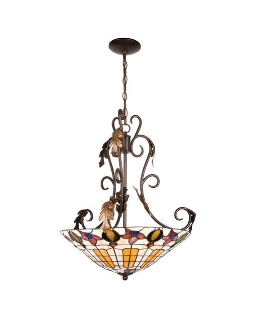 Globe Lighting 6155201 Three Light Chandelier Pendant in Dark Bronze Finish