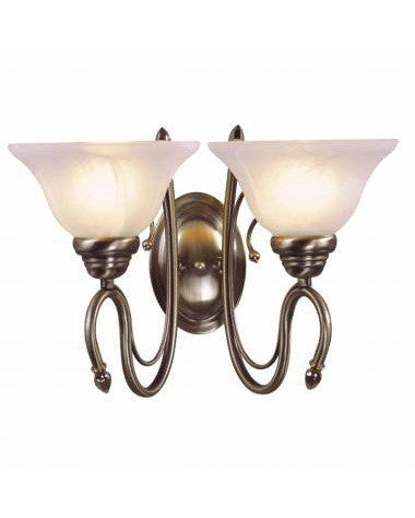 Globe Lighting 4452301 Two Light Wall Sconce in Antique Brass Finish