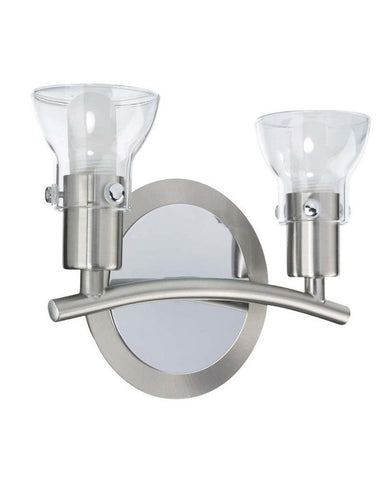 Globe Lighting 5719701 Two Light Bath Wall in Brushed Steel and Chrome Finish